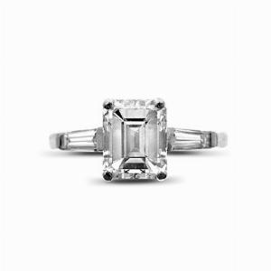 Emerald Cut & Tapered Baguette Engagement Ring 1.40ct D VVS2 Anchor Cert